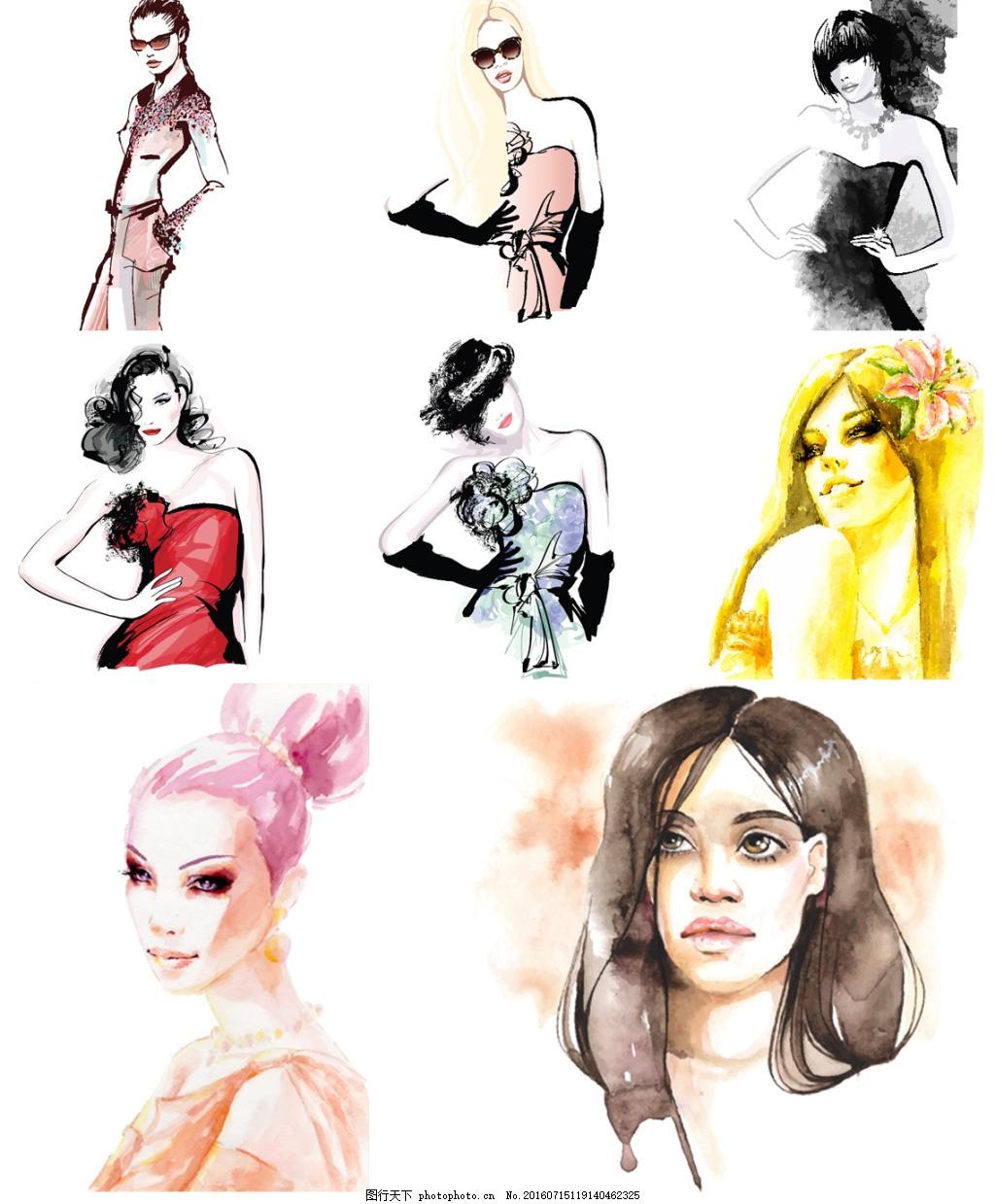 水彩人物 美术 绘画 水彩 人物 女生