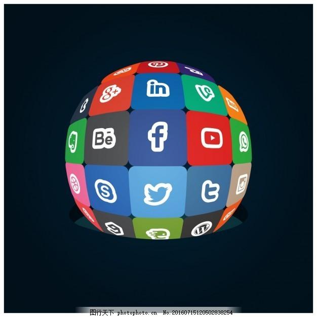 社会媒体世界 标志 脸谱网 instagram 图标 模板 网络 社会网络 标识
