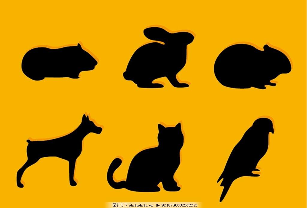 宠物剪影 狗 宠物 可爱的小狗 猫 爪花纹 猫插画 动物标志 动物 卡通
