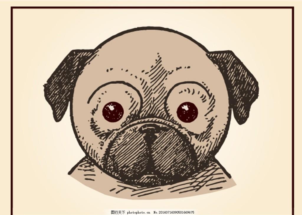 狗插画 宠物 可爱的小狗 猫 爪花纹 猫插画 动物标志 卡通小动物