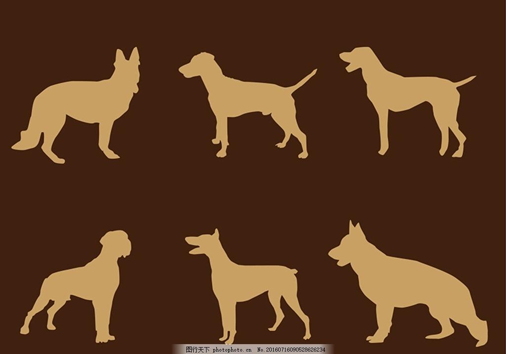 剪影 狗 宠物 可爱的小狗 猫 爪花纹 猫插画 动物标志 卡通小动物