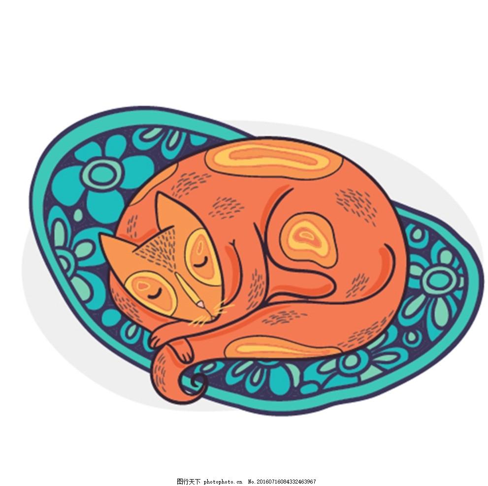 狗 宠物 可爱的小狗 猫 爪花纹 猫插画 动物标志 动物 卡通小动物