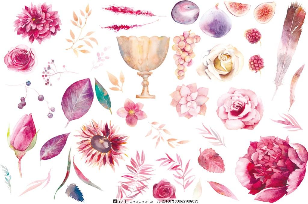 森系花纹,手绘水彩