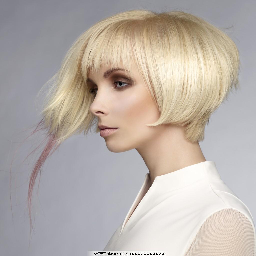 时尚沙宣发型 时尚沙宣发型高清图片下载 短发 金发美女 美发模特