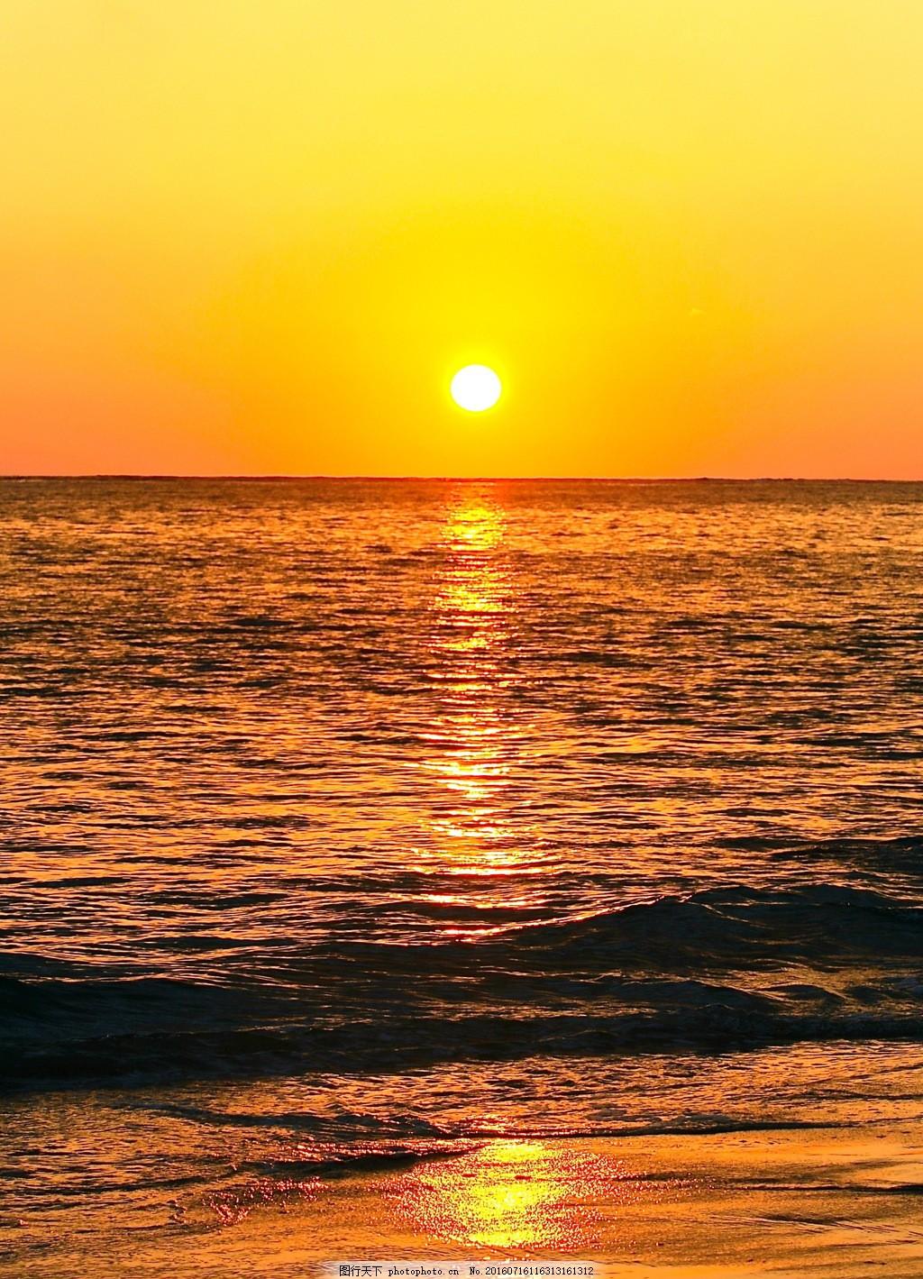 唯美海上日出风景图片素材下载 东升 太阳 日出 云彩 早霞