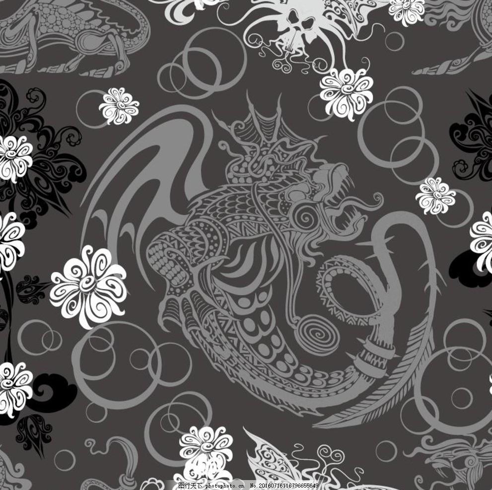 复古手绘线条龙纹 矢量素材 线条花纹 龙纹图案 矢量龙纹 底纹背景