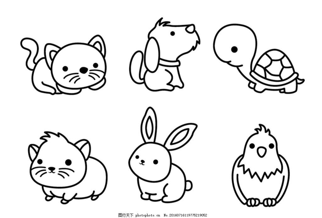 宠物插画 狗 宠物 可爱的小狗 猫 爪花纹 猫插画 动物标志 动物 卡通