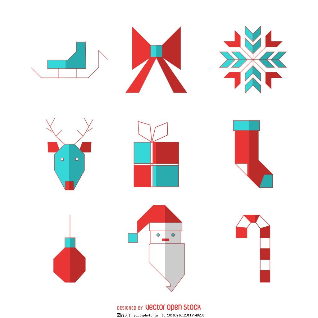 圣诞节图标设计 扁平化图标 圣诞帽子 卡通 手绘图标 雪花 礼物