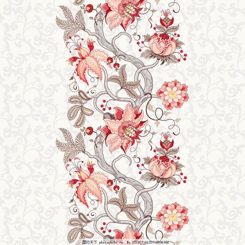 复古花蔓设计矢量素材