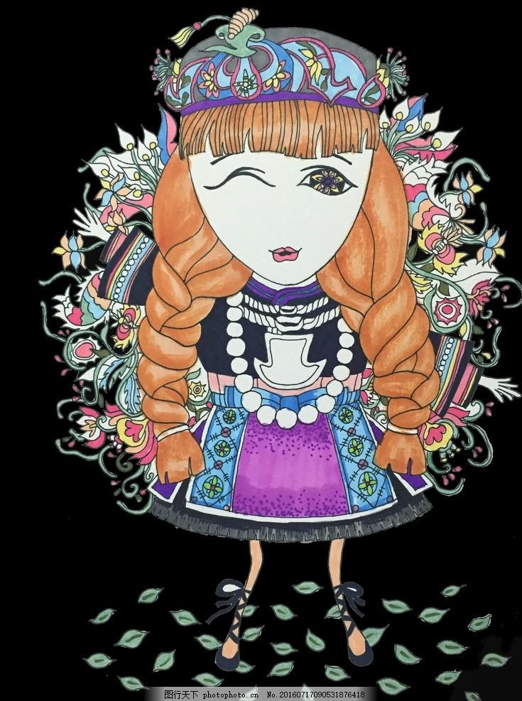 侗族手绘小女孩