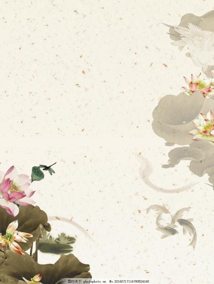 古典水墨荷花背景素材 古典绘画 写意国画 花鸟 荷叶 意境 中国风