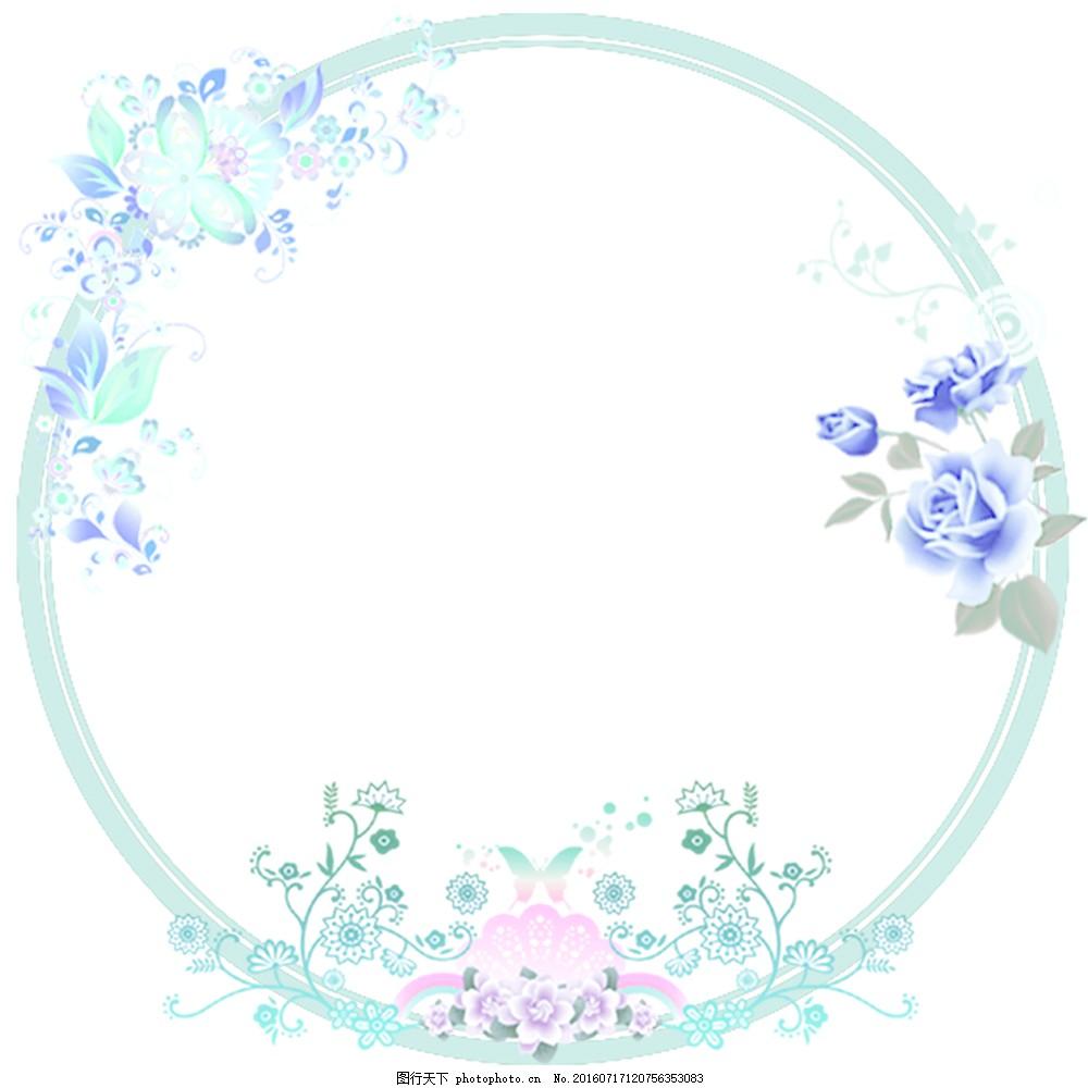 花枝圆框 古风 水墨 圆圈