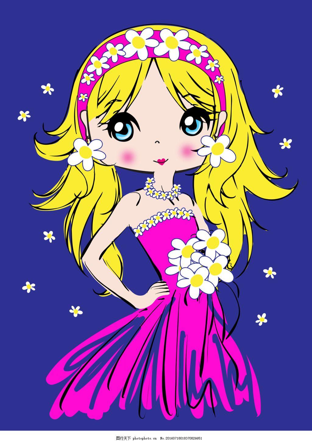 手绘可爱的女生 卡通 人物 蓝色