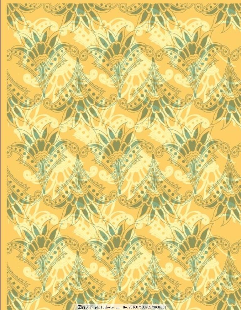 欧式花纹 扇形花纹 花纹素材 矢量素材 底纹边框 无缝图案纹理矢量
