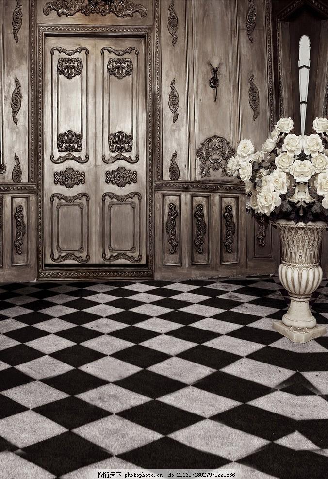 欧式房间 门 花 蜡烛 吊灯 壁灯 地板 瓷砖 欧式 摄影 建筑园林 室内