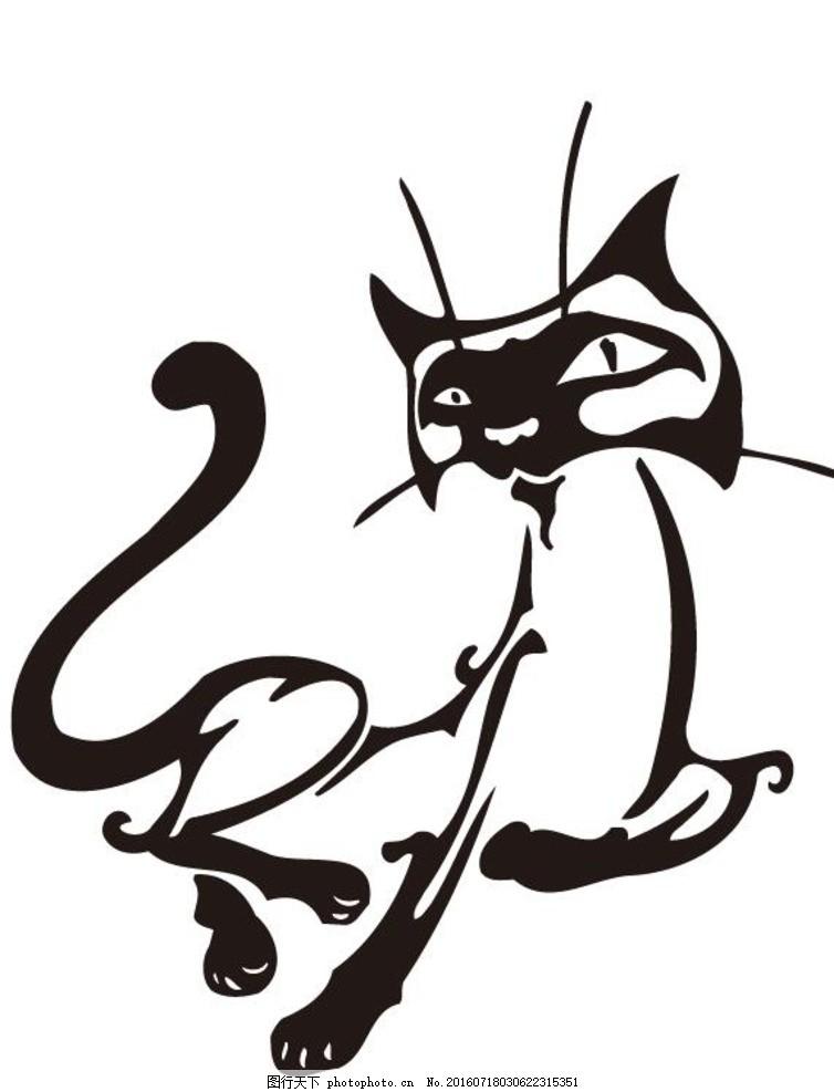 纹身 黑白动物设计 黑白线稿 动物标志 衣服印花 印花设计 其他