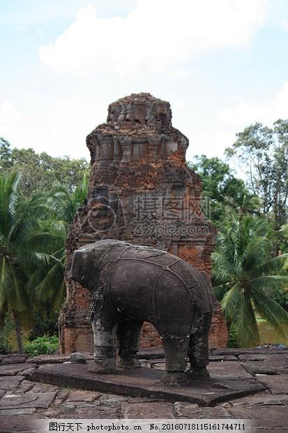 柬埔寨 吴哥窟 节日 废墟 寺 大象 森林 雕像 石头雕像 白色