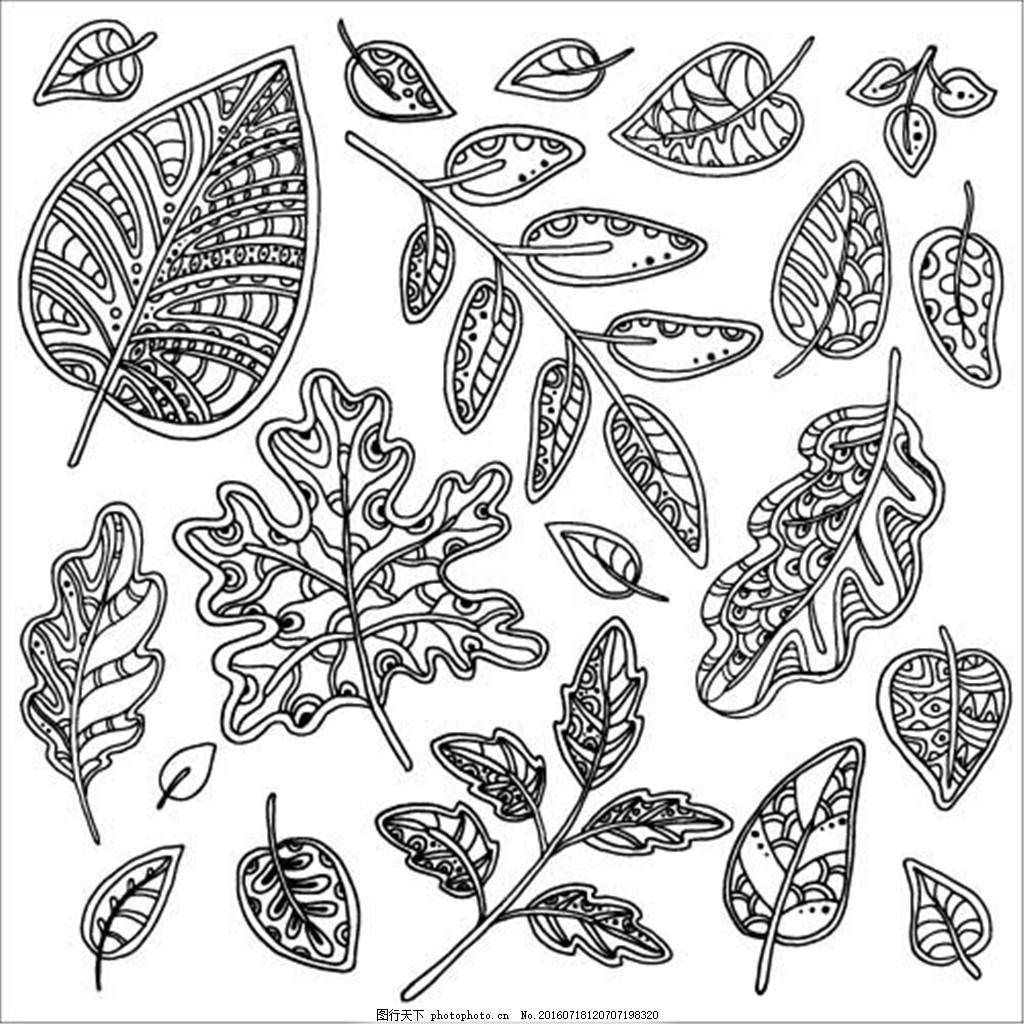 各种树叶纹身图案图片