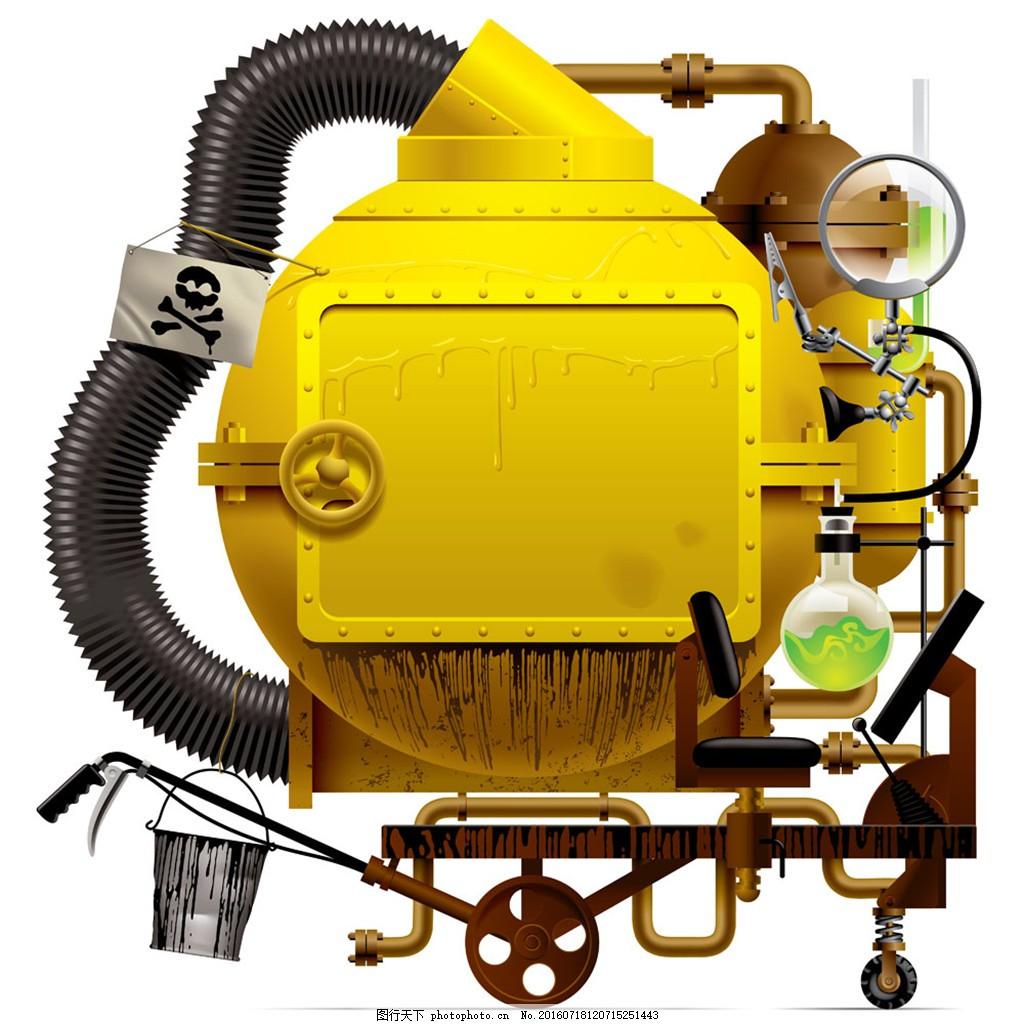 黄色机械工业机器 黄色 管道 机器 齿轮 管路 运作 工业框架 边框相框