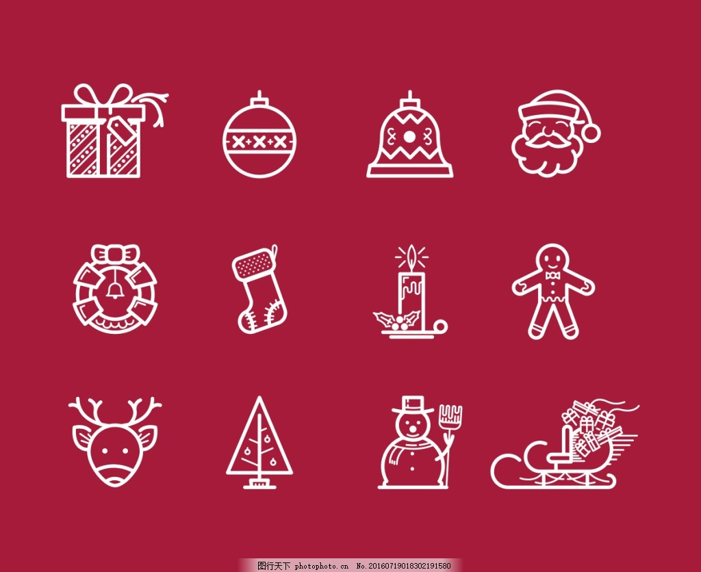 圣诞插图 圣诞 雪人 雪橇 蜡烛 袜子 礼物 雪花 闹钟 线描图标 矢量