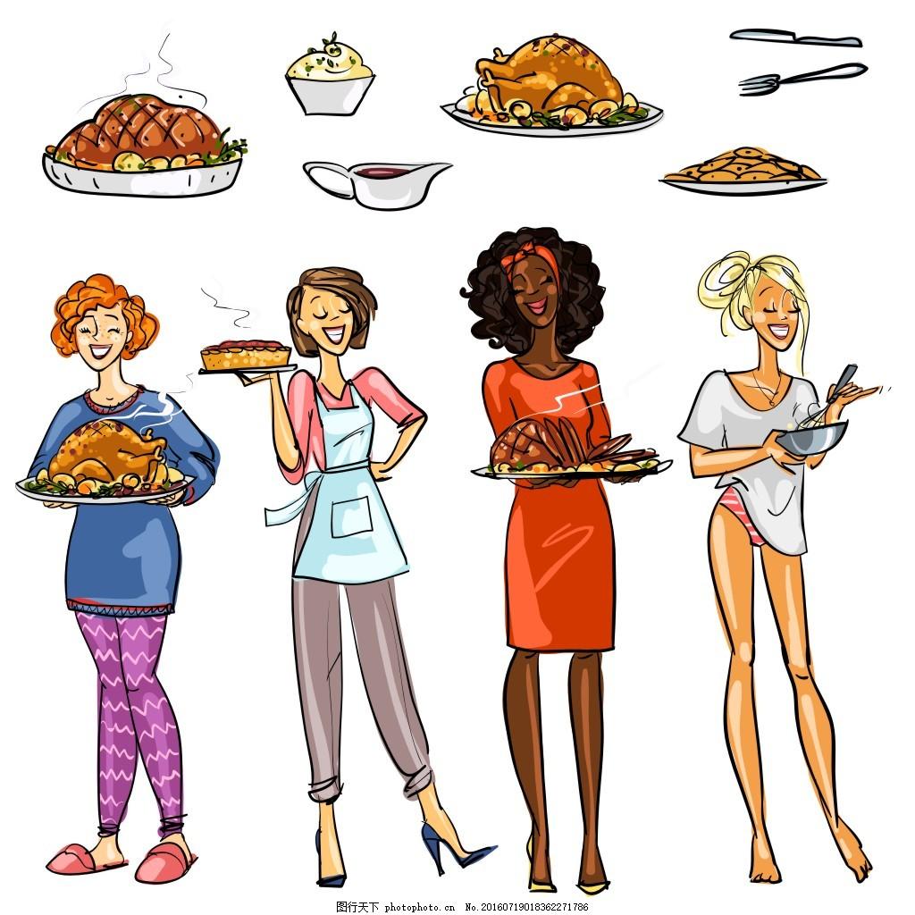 烤鸡 烧烤 性感美女 时尚女性插画 卡通美女漫画 卡通人物漫画 手绘