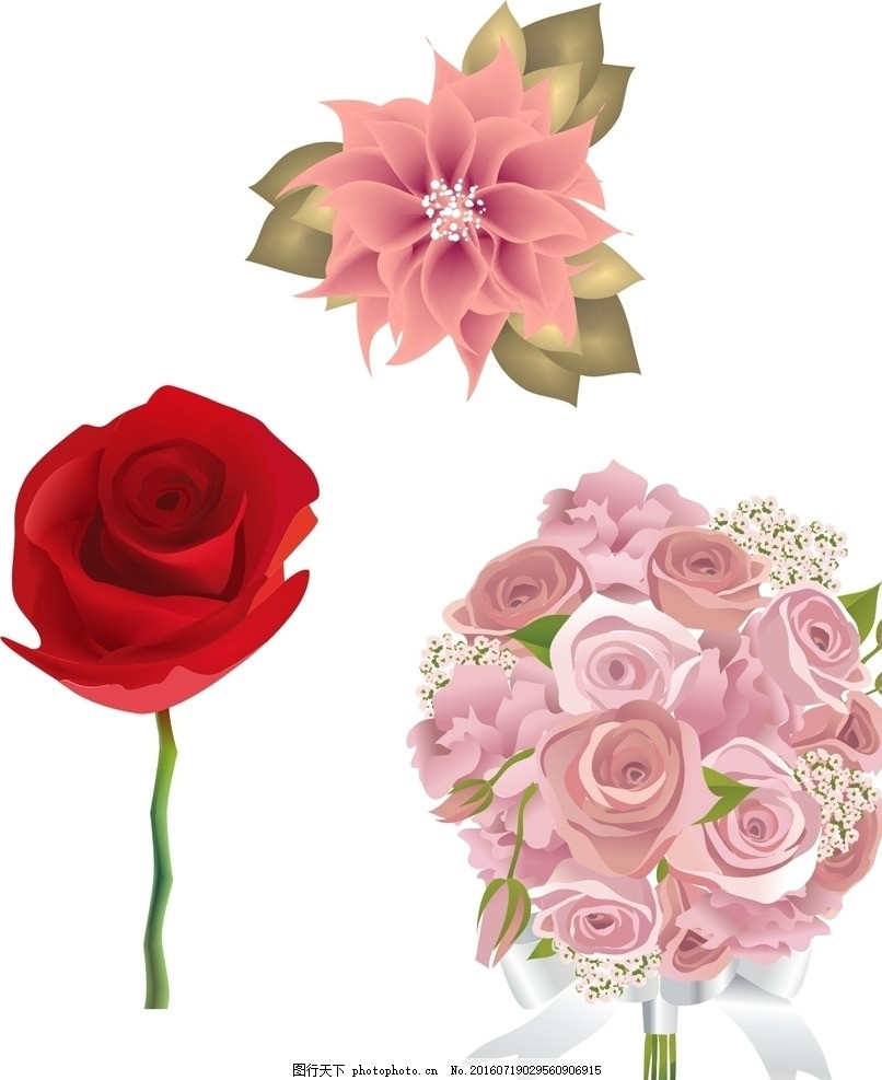 手捧花 玫瑰花 手绘素材 矢量花朵 矢量素材 盛开 绽放 水彩花朵