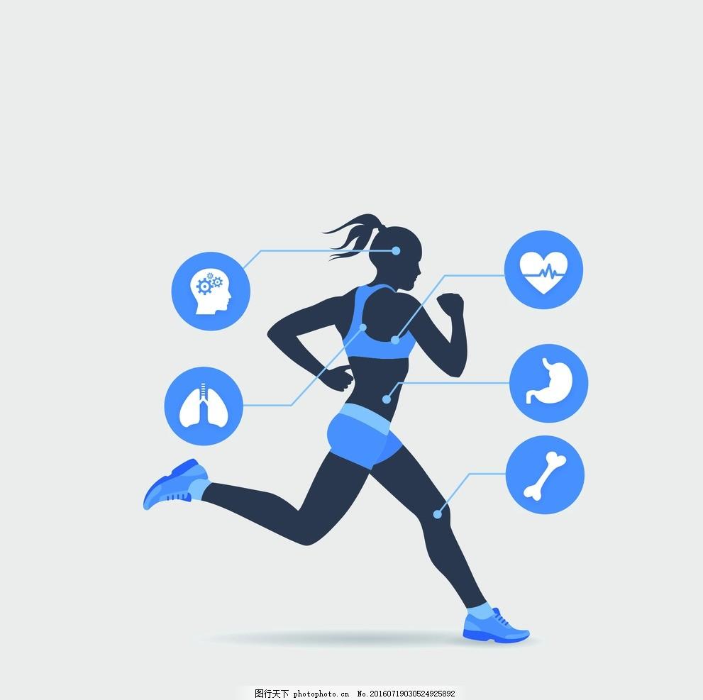 跑步人物 健康 奔跑 女性 矢量 素材 器官 设计 广告设计 卡通设计
