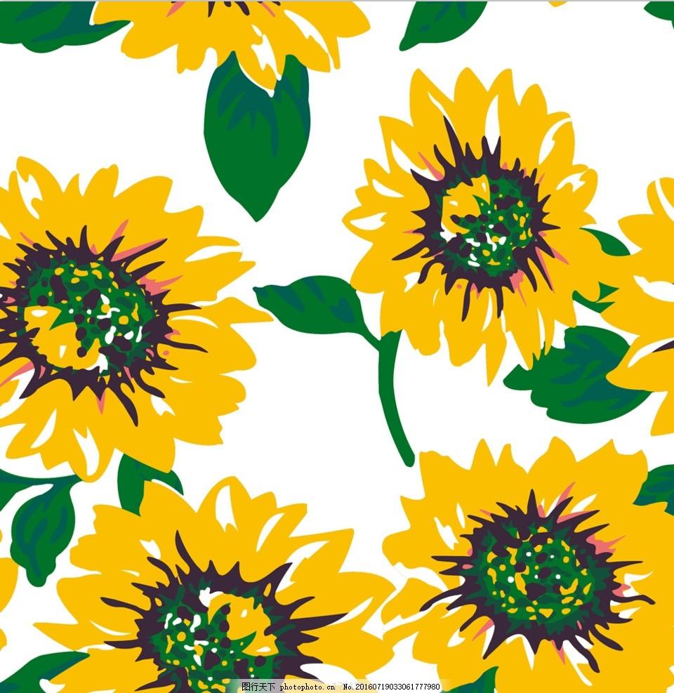 向日葵 花 数码印花 色块花 黄花 设计 psd分层素材 psd分层素材 300