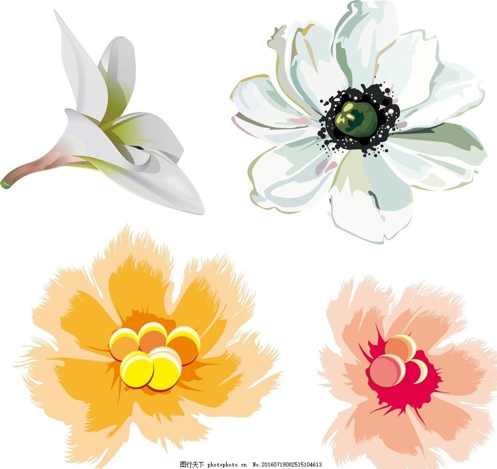 笔刷插件 ps工具 笔刷预设  手绘素材 矢量花朵 矢量素材 素材 盛开