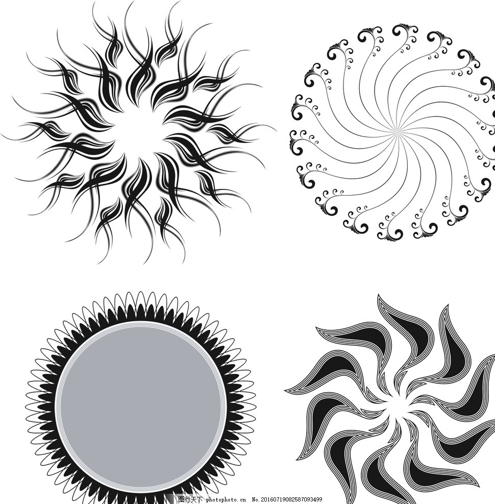 放射状圆形 放射状 抽象花朵 黑白花朵 抽象 圆形花朵 动感线条 花纹