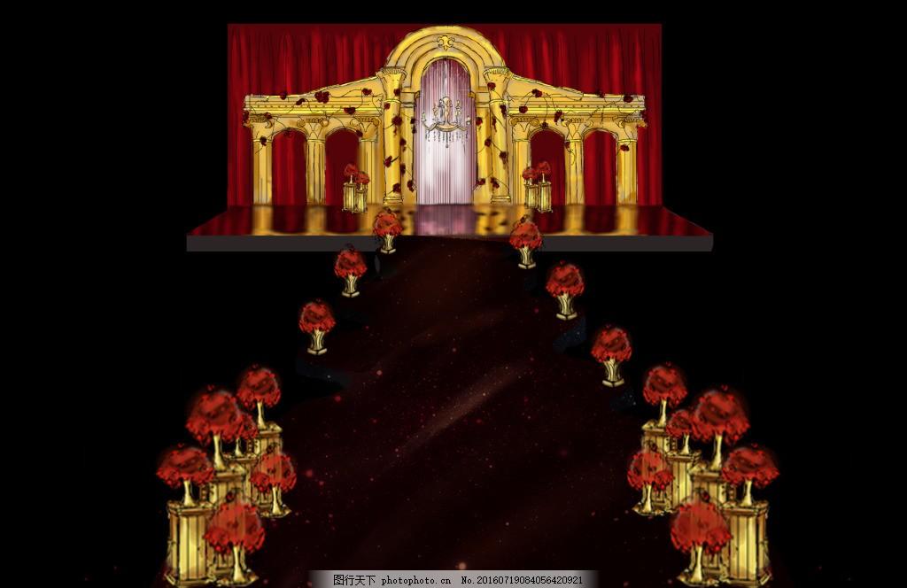 婚礼手绘舞台红色金色罗马柱