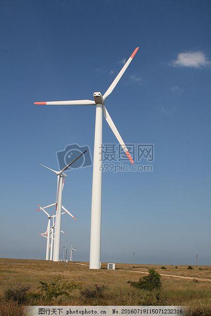 风力发电机 电力 保加利亚 绿能能源 环保 风车 蓝色图片