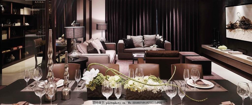 家庭装修 餐厅 餐桌 沙发 欧式风格      家装 装饰装修 素材 设计