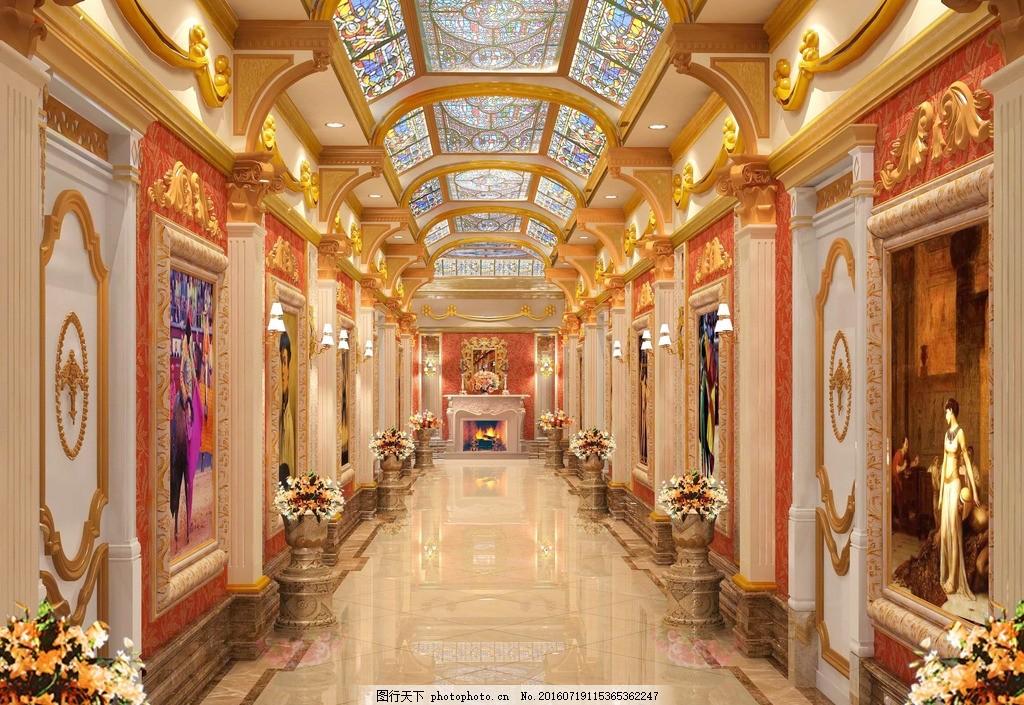 走廊设计 公装 走廊 欧式风格 穹顶设计 罗马柱 装饰装修 设计 环境