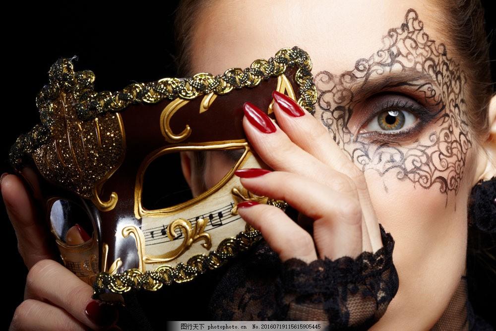 面具与女人图片