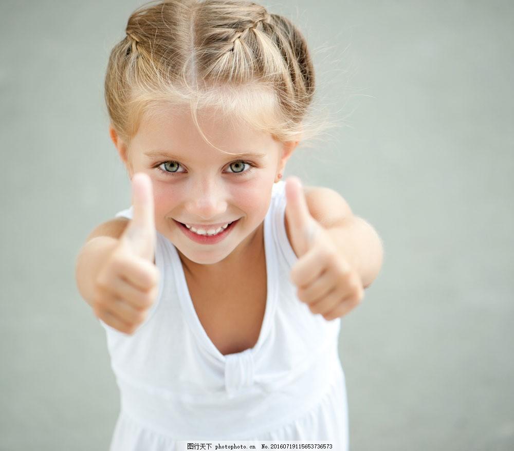 双手竖大拇指小女孩图片素材 小女孩 快乐的儿童 小朋友 快乐儿童