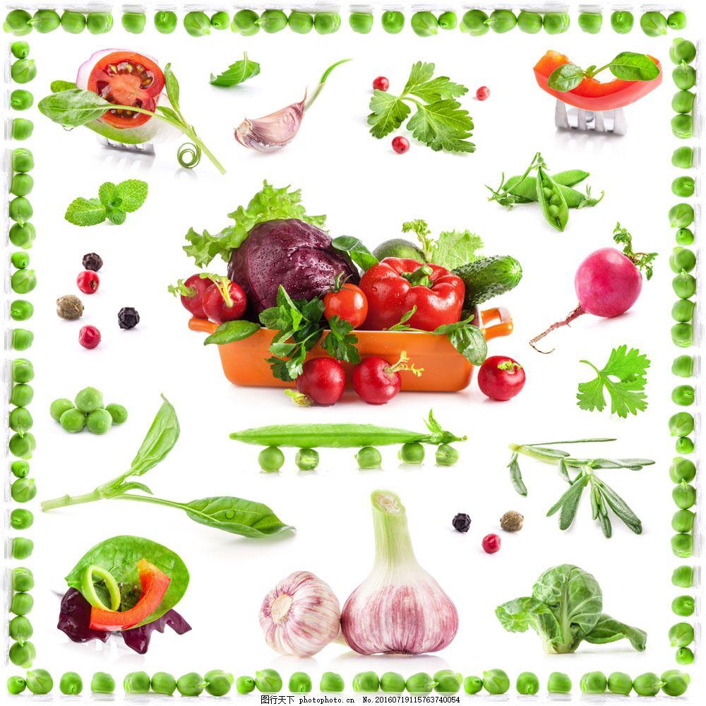 新鲜蔬菜背景边框图片素材 大蒜 蒜头 豆角 甘蓝菜 蔬菜背景 番茄
