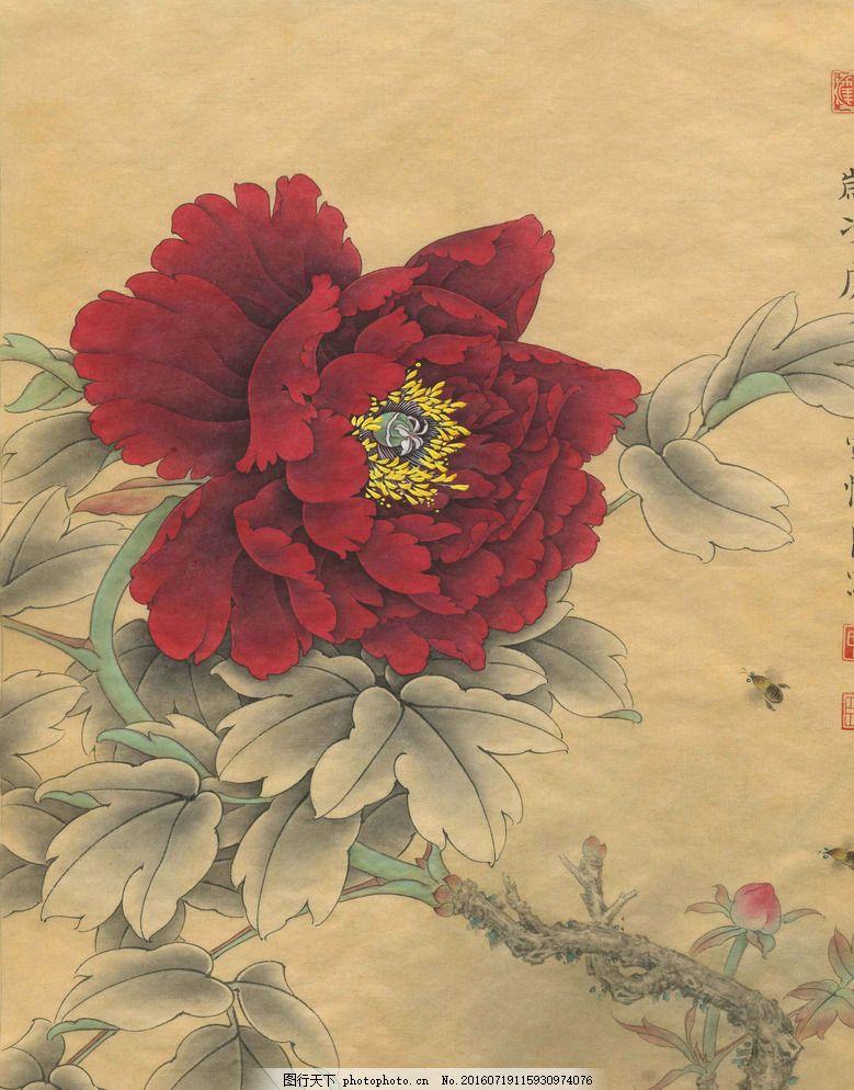 春风微醺 工笔画 国画 水墨画 牡丹 蜜蜂 美术绘画 文化艺术