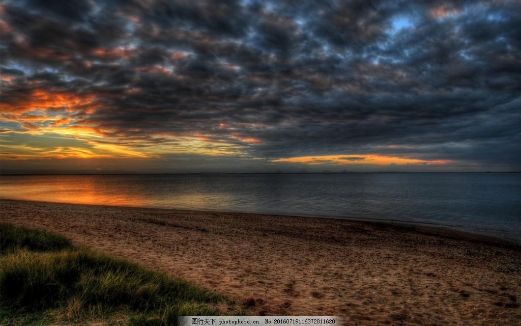 唯美黄昏海边风景图片素材下载 黄昏 阴暗 天空 海滩 海岸
