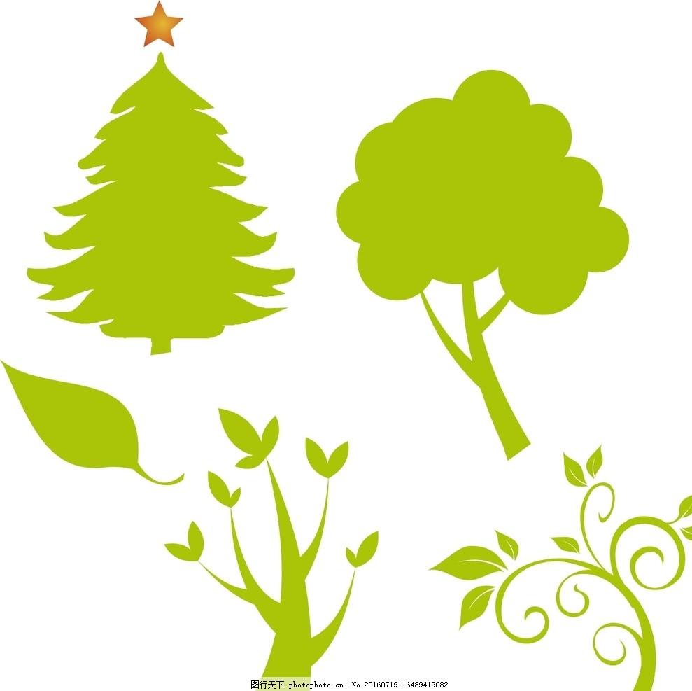 松树 抽象树木 卡通素材 手绘素材 儿童素材 幼儿园素材 绿色