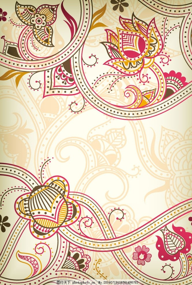 淡雅花蔓设计矢量素材 花藤 花朵 曲线 底纹边框 欧式 背景花纹