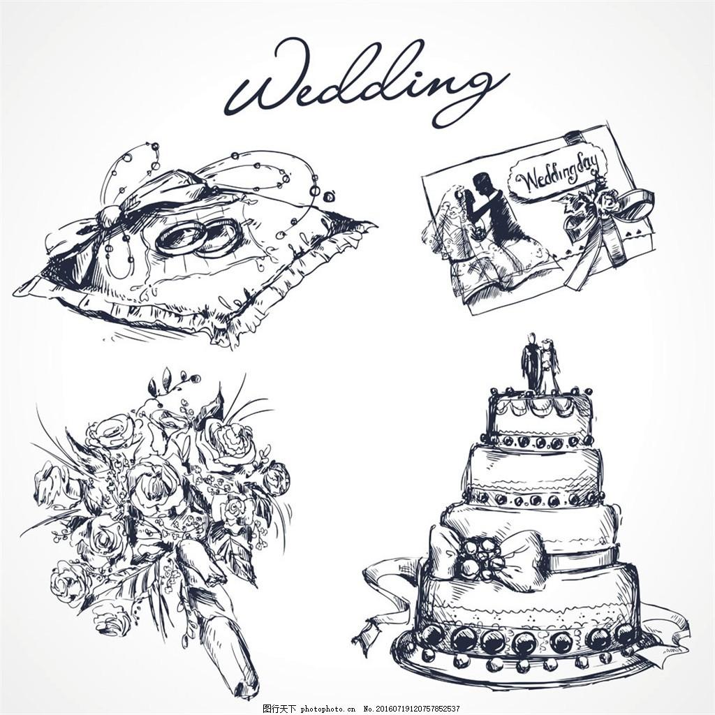手绘婚礼设计元素图片