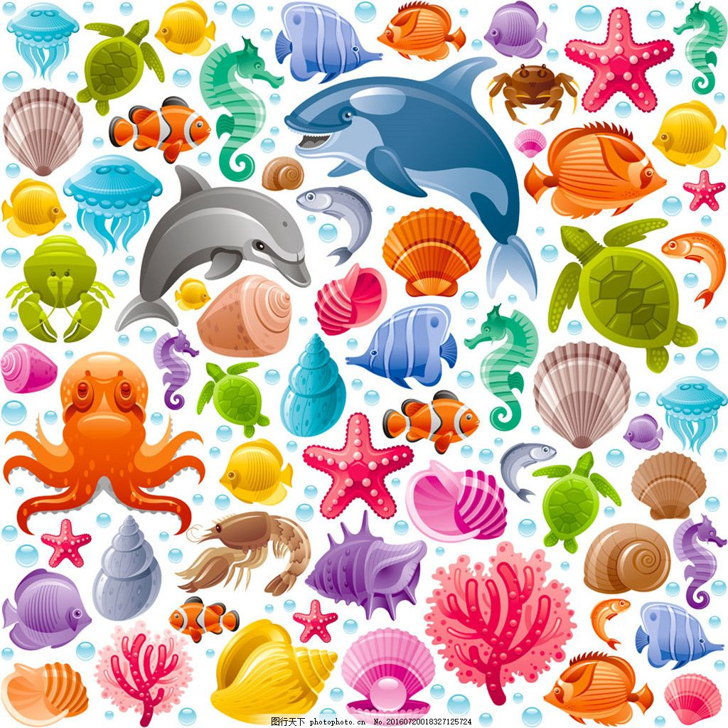 海洋动物无缝背景 背景元素 图画素材 梦幻素材 花式背景 背景素材