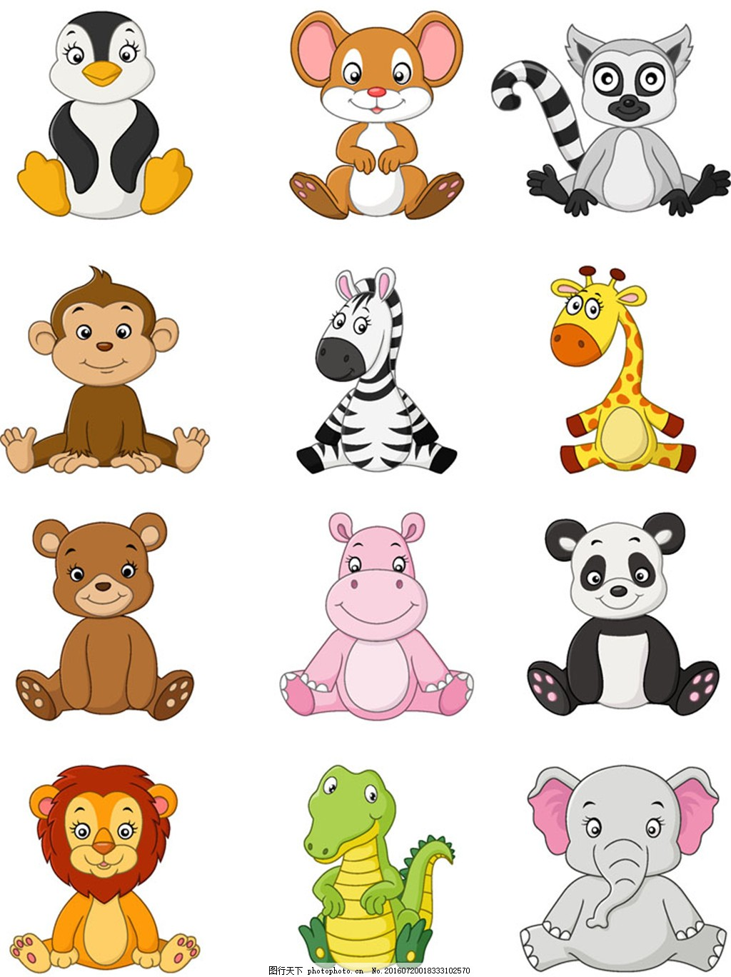 坐着的一群动物图片1 大象 长颈鹿 狮子 猴子 卡通动物图片