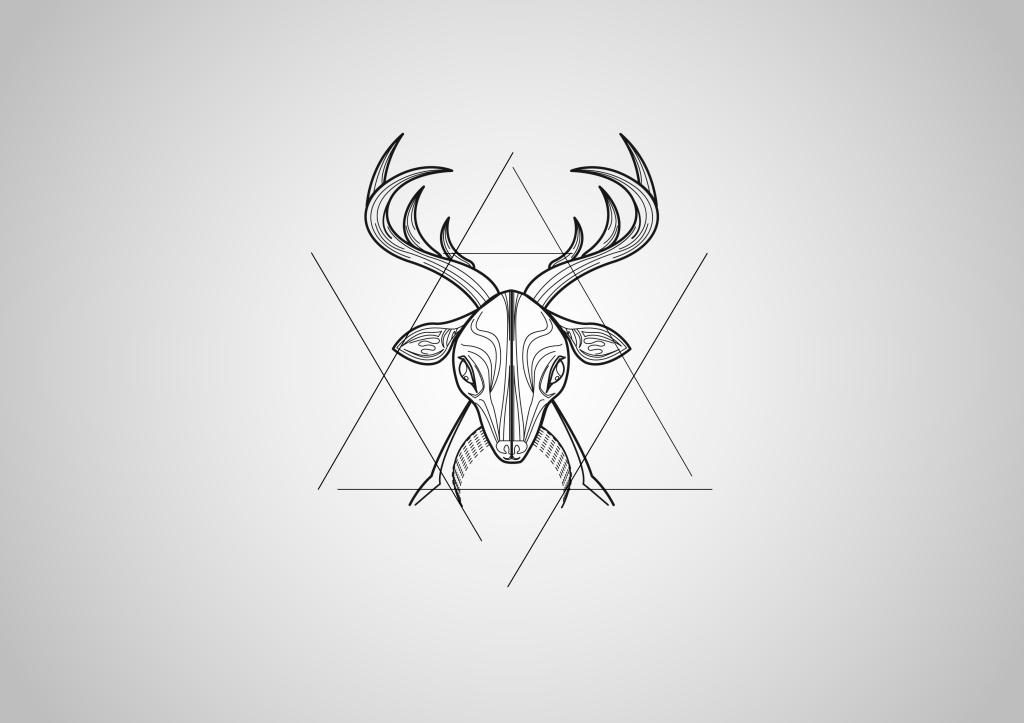 雄鹿手绘图案 几何图形 线条