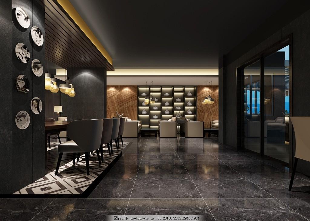 咖啡厅装修效果图 咖啡厅 装修        暗色 卡座 设计 3d设计 室内