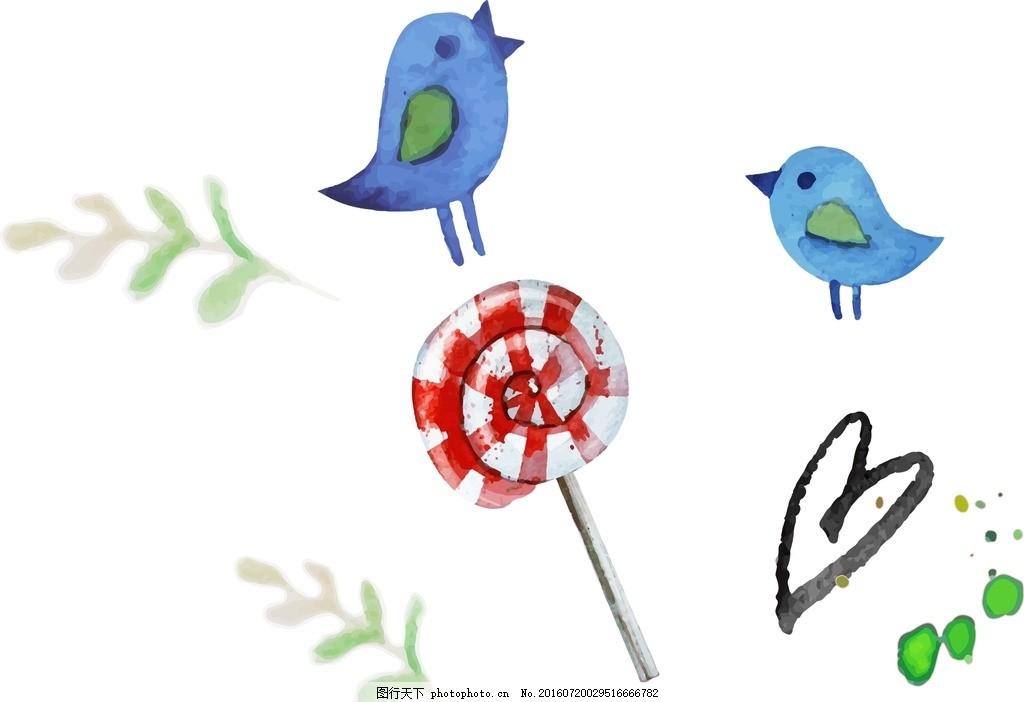 小鸟 棒棒糖 卡通素材 可爱 手绘素材 幼儿园素材 抽象 时尚