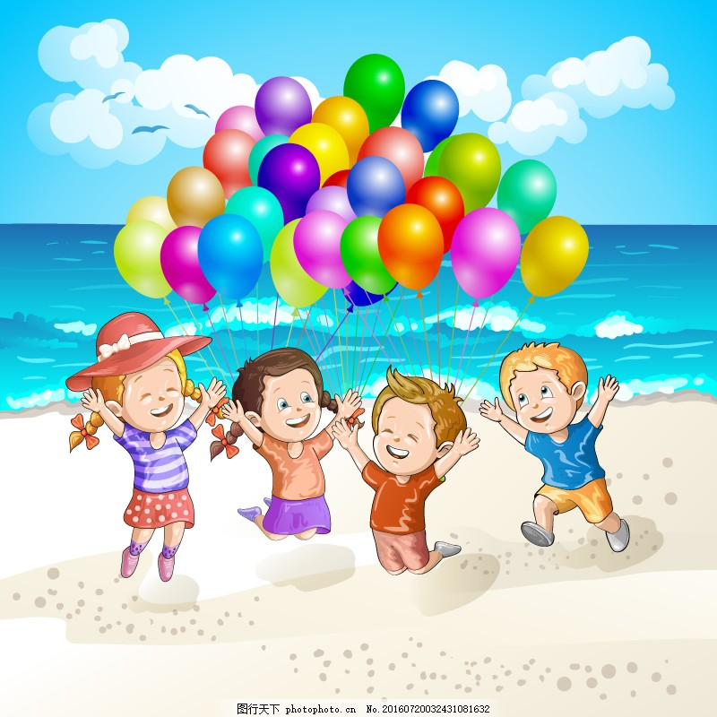 海滩玩气球的孩子矢量素材 矢量人物 卡通 儿童 亲子 家庭