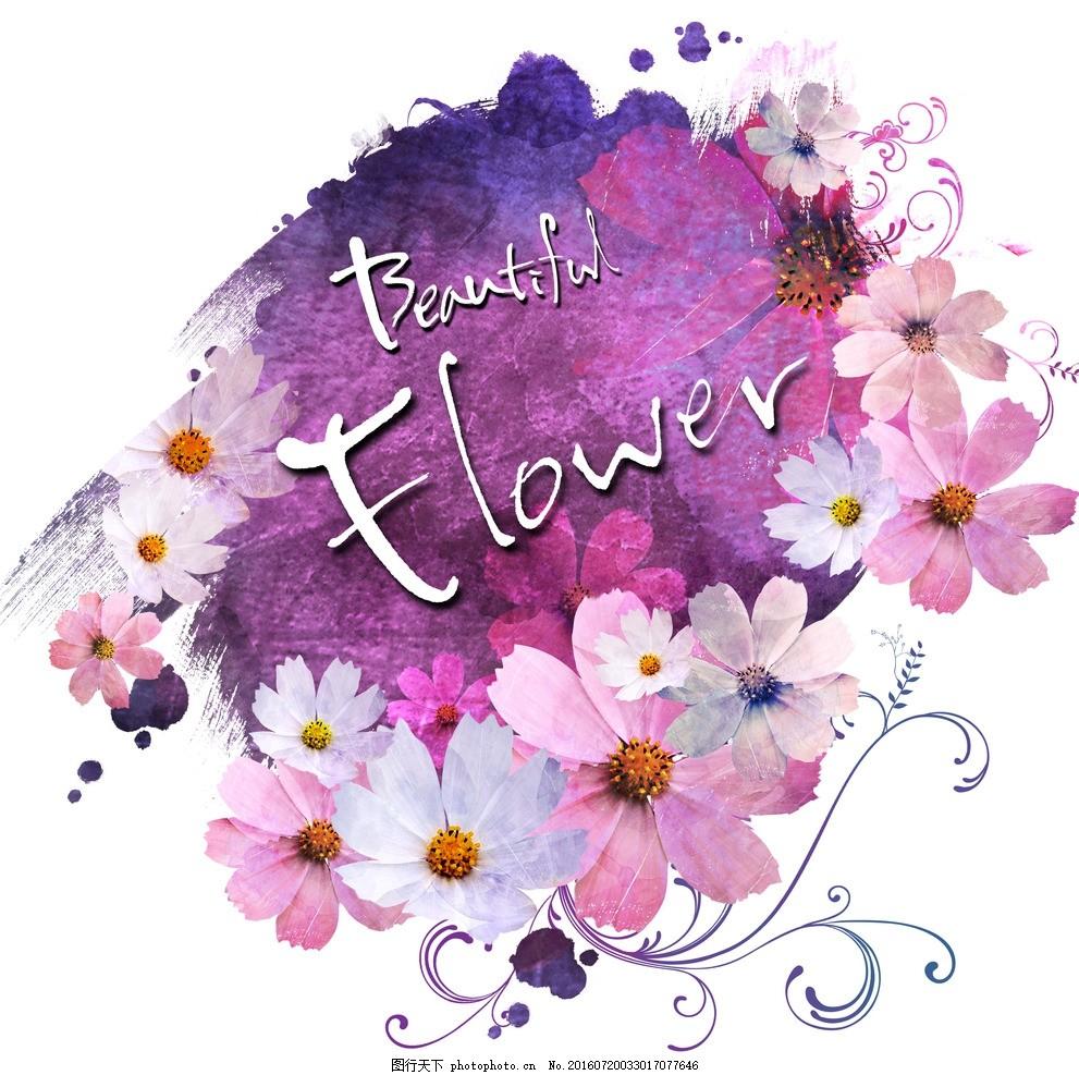 紫色创意手绘花朵