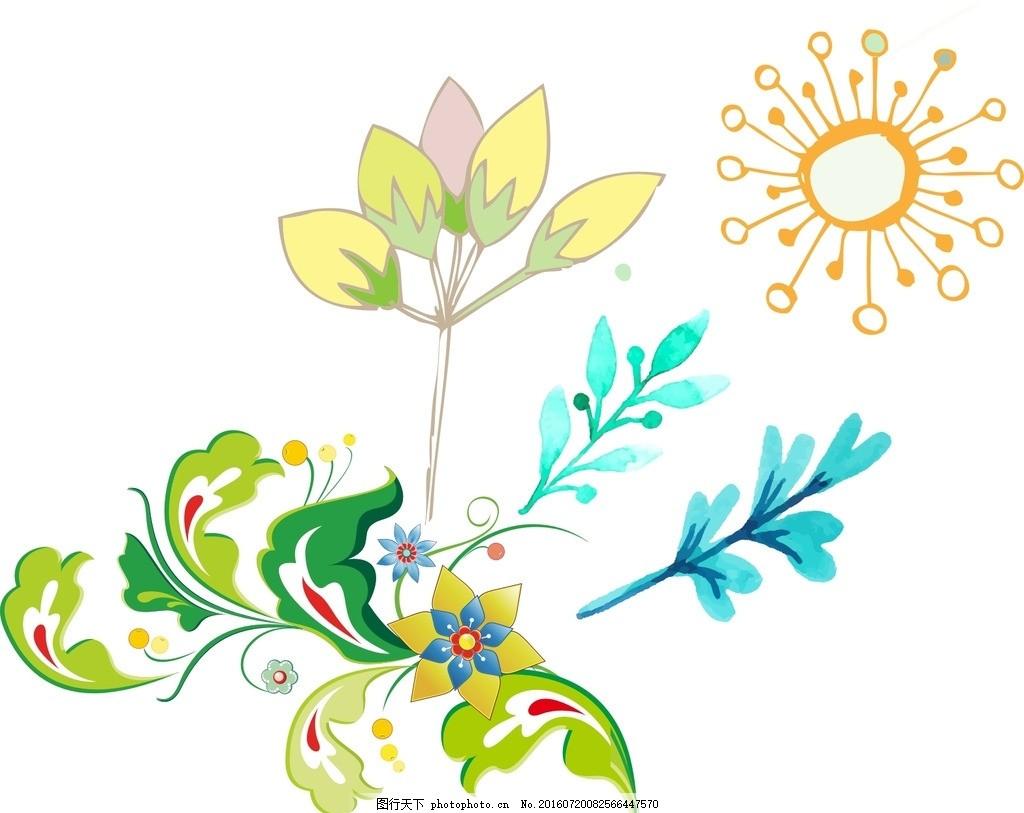 树叶 树藤 卡通素材 可爱 素材 手绘素材 幼儿园素材 抽象 时尚 可爱